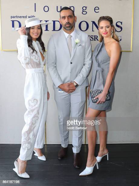 Jessica Gomes Adam Goodes and Jesinta Franklin attend the David Jones Marquee on Caulfield Cup Day at Caulfield Racecourse on October 21 2017 in...