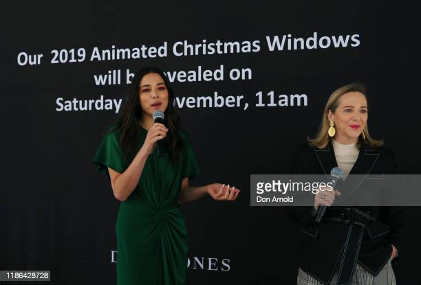 Jessica Gomes addresses customers during the 2019 Christmas Window unveiling at David Jones Market Street on November 09 2019 in Sydney Australia