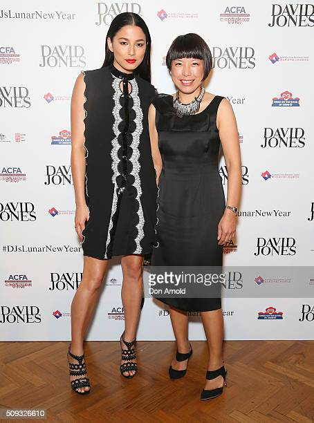 Jessica Gomes and Angelica Cheung arrive ahead of the Lunar New Year Designer Collection Launch Party at David Jones Elizabeth Street Store on...