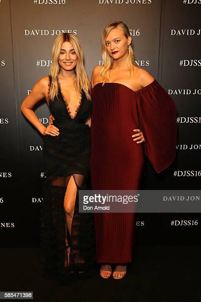 Jessica Gomes and Gemma Ward arrive ahead of the David Jones Spring/Summer 2016 Fashion Launch at Fox Studios on August 3, 2016 in Sydney, Australia.
