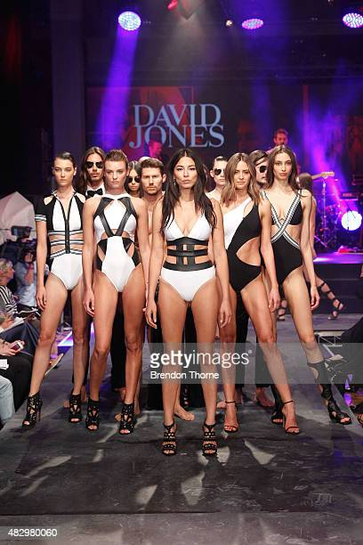 Jessica Gomes and models showcase designs by Jets during rehearsal ahead of the David Jones Spring/Summer 2015 Fashion Launch at David Jones...