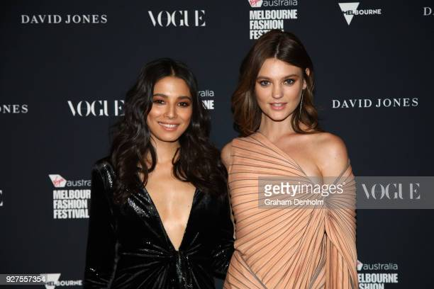 Jessica Gomes and Montana Cox pose during the VAMFF Runway Gala Presented by David Jones on March 5 2018 in Melbourne Australia