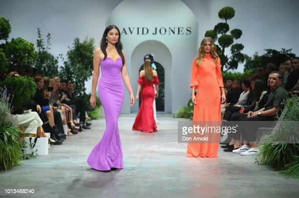 Jessica Gomes andVictoria Lee showcase designs during the David Jones Spring Summer 18 Collections Launch at Fox Studios on August 8 2018 in Sydney...