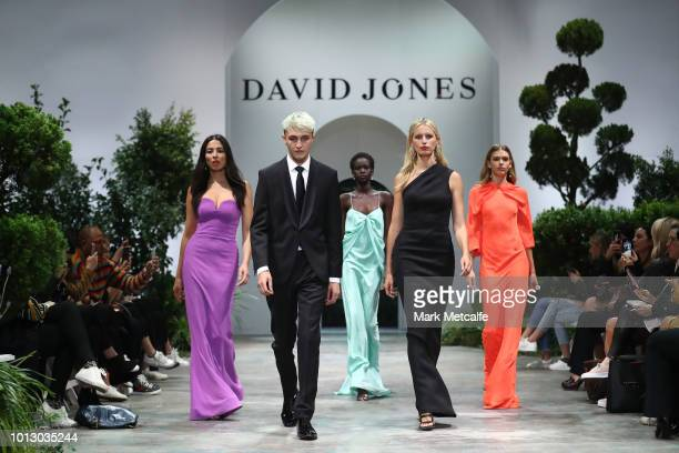 Jessica Gomes Anwar Hadid Adut Akech Karolina Kurkova and Victoria Lee showcase designs during the media rehearsal ahead of the David Jones Spring...