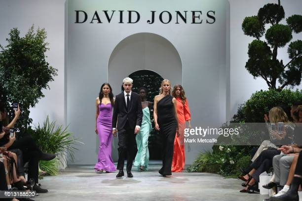 Jessica Gomes Anwar Hadid Adut Akech Karolina Kurkova and Victoria Lee walk in the finale of the David Jones Spring Summer 18 Collections Launch at...
