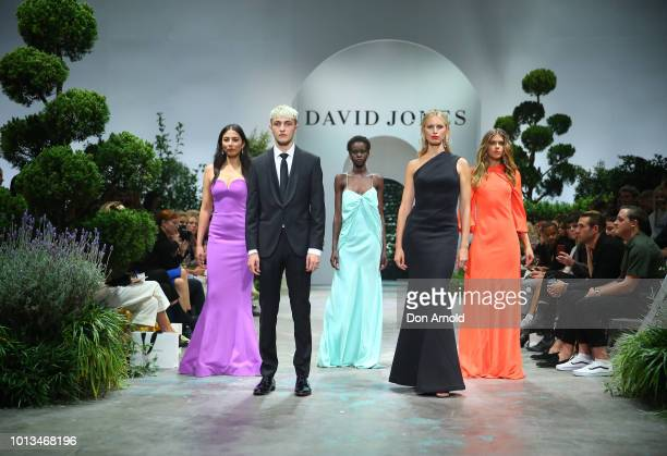 Jessica Gomes Anwar Hadid Adut Akech Karol'na Kurkov‡ and Victoria Lee showcase designs during the David Jones Spring Summer 18 Collections Launch at...