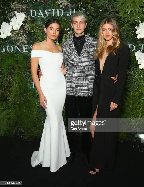 Jessica Gomes Anwar Hadid and Victoria Lee attends the David Jones Spring Summer 18 Collections Launch at Fox Studios on August 8 2018 in Sydney...