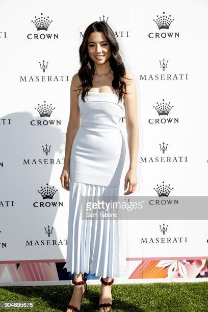 Jessica Gomes arrives ahead of the 2018 Crown IMG Tennis Player at Crown Palladium on January 14 2018 in Melbourne Australia