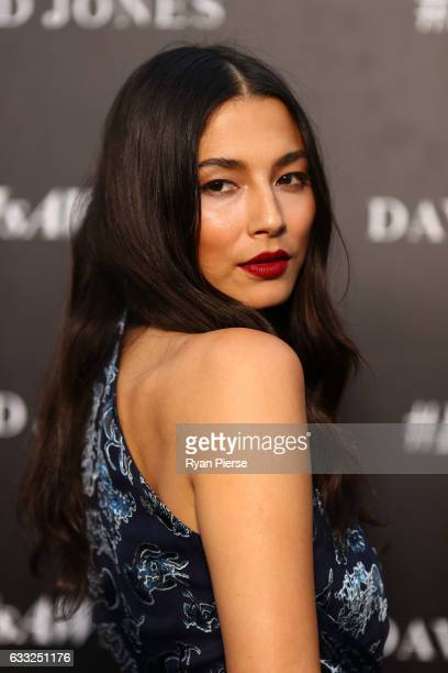 Jessica Gomes arrives ahead of the David Jones Autumn Winter 2017 Collections Launch at St Mary's Cathedral Precinct on February 1 2017 in Sydney...
