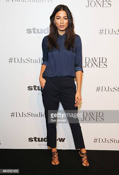 Jessica Gomes arrives ahead of the StudioW launch at David Jones Elizabeth Street Store on August 20 2015 in Sydney Australia