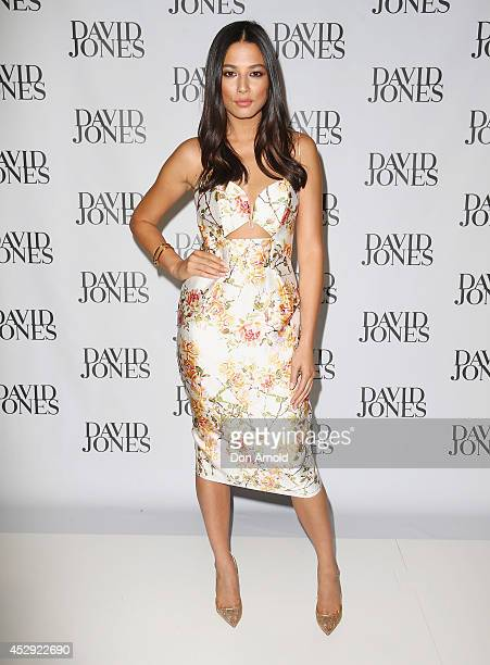 Jessica Gomes arrives at the David Jones Spring/Summer 2014 Collection Launch at David Jones Elizabeth Street Store on July 30, 2014 in Sydney,...