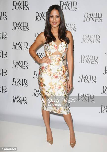 Jessica Gomes arrives at the David Jones Spring/Summer 2014 Collection Launch at David Jones Elizabeth Street Store on July 30 2014 in Sydney...
