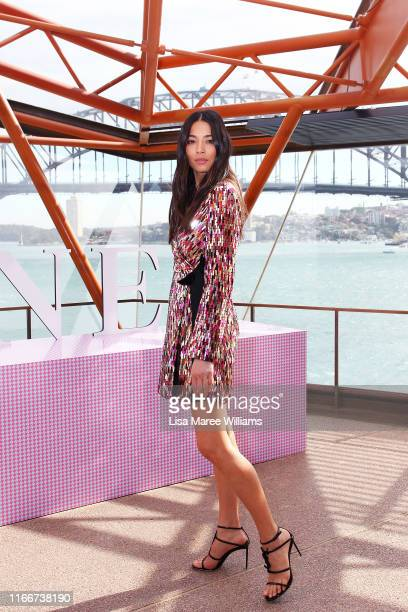 Jessica Gomes arrives at the David Jones SS19 Season Preview at the Sydney Opera House on August 08, 2019 in Sydney, Australia.