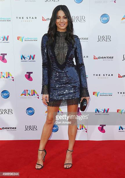 Jessica Gomes arrives for the 29th Annual ARIA Awards 2015 at The Star on November 26 2015 in Sydney Australia