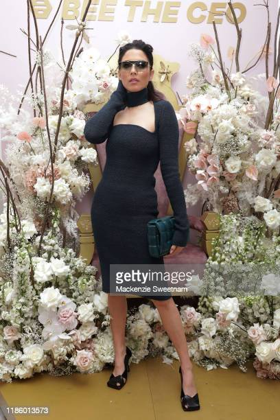 Jessica Gomes attends Oaks Day at Flemington Racecourse on November 07 2019 in Melbourne Australia