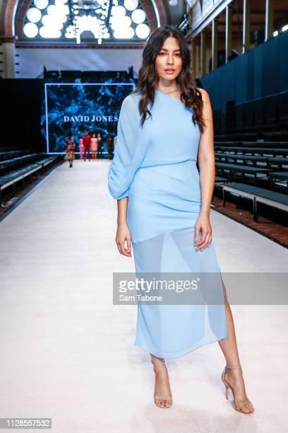 Jessica Gomes attends the Reveal of Virgin Australia Melbourne Fashion Festival Plaza at Melbourne Museum Precinct on March 4, 2019 in Melbourne,...