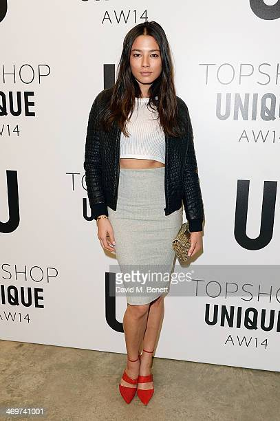 Jessica Gomes attends the Topshop Unique show at London Fashion Week AW14 at Tate Modern on February 16 2014 in London England