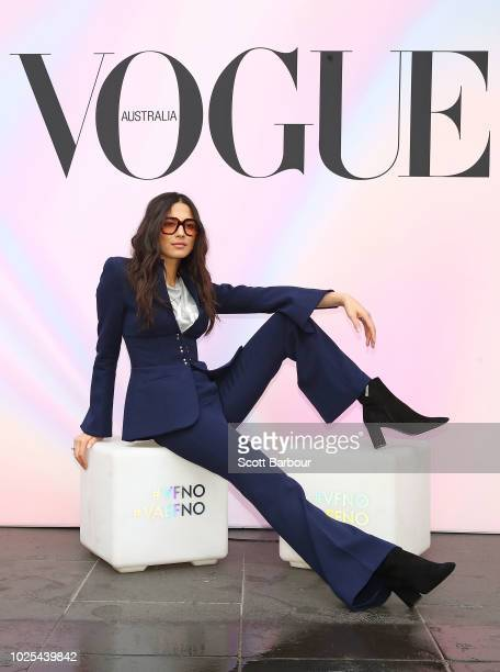 Jessica Gomes David Jones ambassador poses during Vogue American Express Fashion's Night Out on August 31 2018 in Melbourne Australia