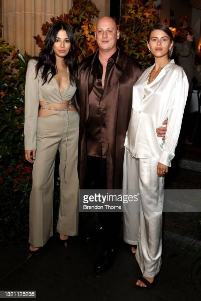 Jessica Gomes, Michael Lo Sordo and Georgia Fowler attend the Michael Lo Sordo show during Afterpay Australian Fashion Week 2021 Resort '22...