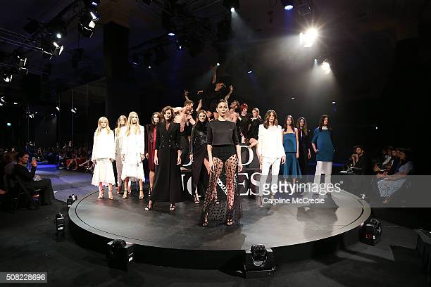 Jessica Gomes Montana Cox and Jesinta Campbell showcase designs by Camilla and Marc on the runway at the David Jones Autumn/Winter 2016 Fashion...