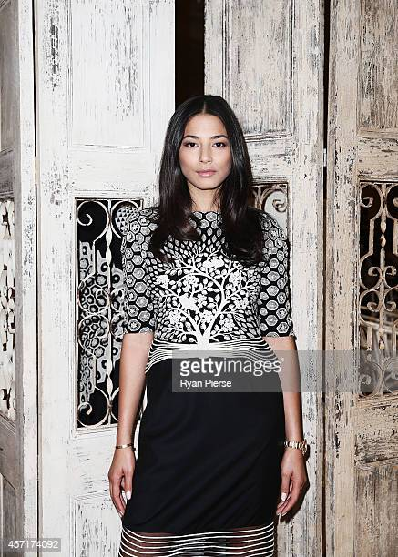 Jessica Gomes poses as Rahul Mishra Launches His Woolmark Collection at David Jones Elizabeth Street Store on October 14, 2014 in Sydney, Australia.