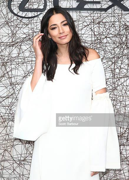 Jessica Gomes poses at the Lexus Marquee on Derby Day at Flemington Racecourse on October 31 2015 in Melbourne Australia