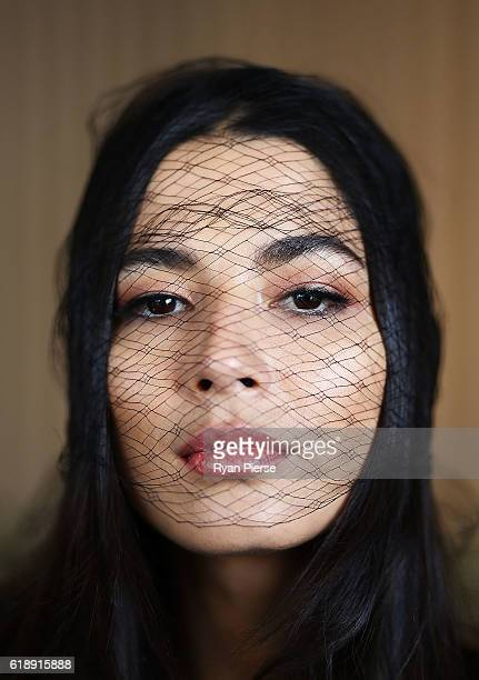 Jessica Gomes poses at the Lexus Marquee on Derby Day at Flemington Racecourse on October 29, 2016 in Melbourne, Australia.
