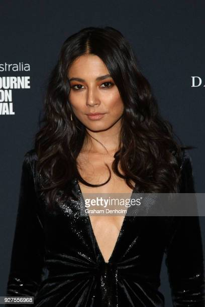 Jessica Gomes poses during the VAMFF Runway Gala Presented by David Jones on March 5 2018 in Melbourne Australia