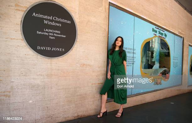 Jessica Gomes poses in front of a window display during the 2019 Christmas Window unveiling at David Jones Market Street on November 09 2019 in...
