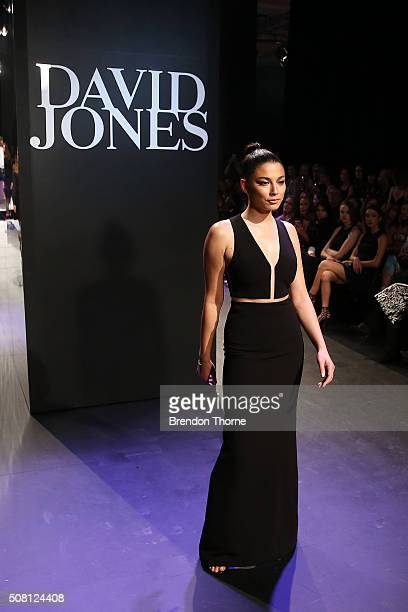 Jessica Gomes showcases designs by Alexander Wang on the runway at the David Jones Autumn/Winter 2016 Fashion Launch at David Jones Elizabeth Street...