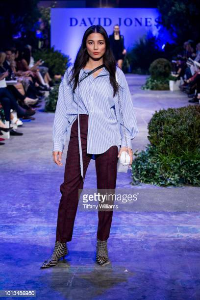 Jessica Gomes showcases designs by Balenciaga designs during the David Jones Spring Summer 18 Collections Launch at Fox Studios on August 8 2018 in...