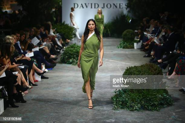 Jessica Gomes showcases designs by Bianca Spender during the David Jones Spring Summer 18 Collections Launch at Fox Studios on August 8 2018 in...