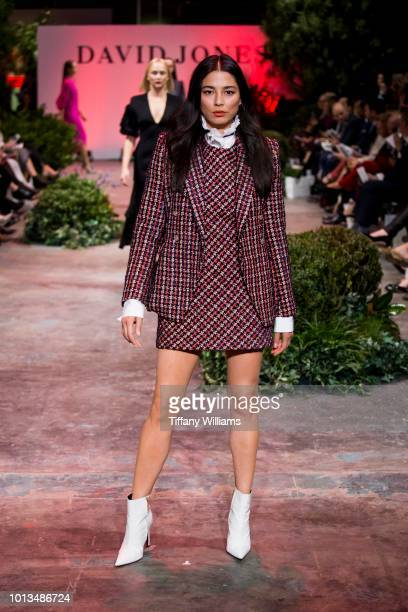 Jessica Gomes showcases designs by Camilla and Marc designs during the David Jones Spring Summer 18 Collections Launch at Fox Studios on August 8...