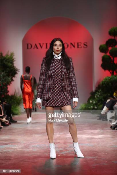 Jessica Gomes showcases designs by Camilla and Marc during the David Jones Spring Summer 18 Collections Launch at Fox Studios on August 8 2018 in...