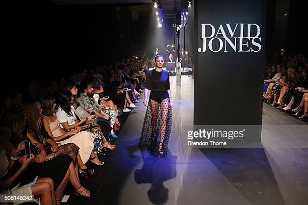 Jessica Gomes showcases designs by Camilla and Marc on the runway at the David Jones Autumn/Winter 2016 Fashion Launch at David Jones Elizabeth...