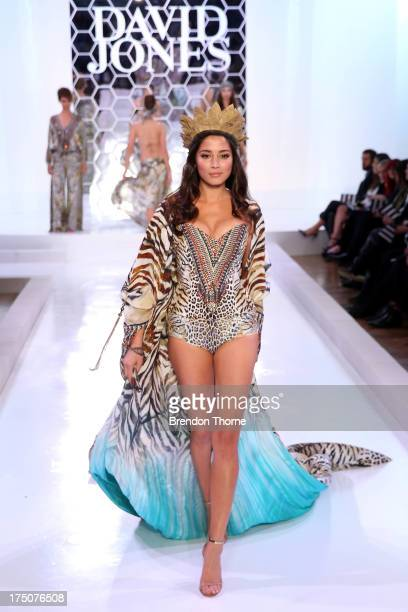 Jessica Gomes showcases designs by Camilla at the David Jones Spring/Summer 2013 Collection Launch at David Jones Elizabeth Street on July 31 2013 in...