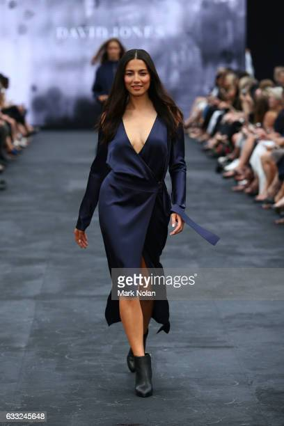 Jessica Gomes showcases designs by Dion Lee during rehearsal ahead of the David Jones Autumn/Winter 2016 Fashion Launch at St Mary's Cathedral on...
