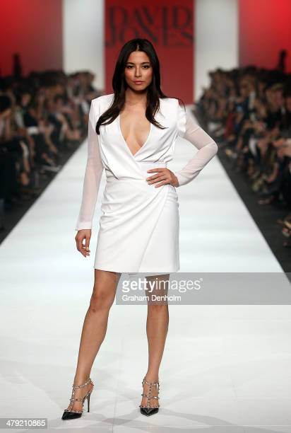 Jessica Gomes showcases designs by Dion Lee on the runway the 2014 Virgin Australia Melbourne Fashion Festival Opening Event presented by David Jones...