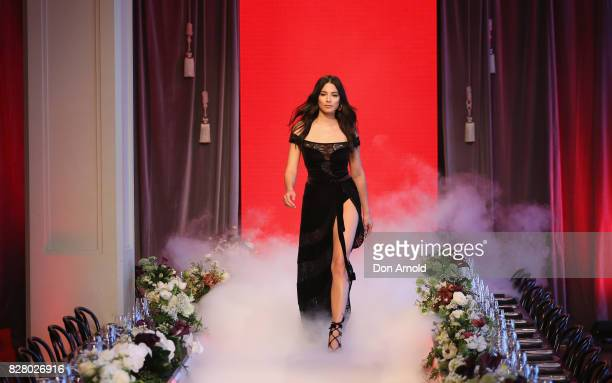 Jessica Gomes showcases designs by Ellery on the runway during rehearsals ahead of the David Jones Spring Summer 2017 Collections Launch at David...