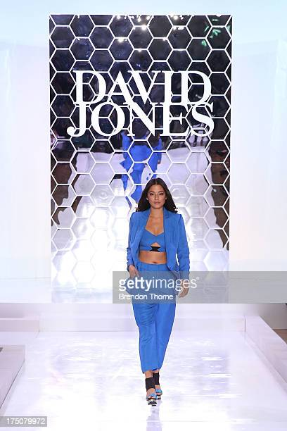 Jessica Gomes showcases designs by Ginger Smart at the David Jones Spring/Summer 2013 Collection Launch at David Jones Elizabeth Street on July 31...