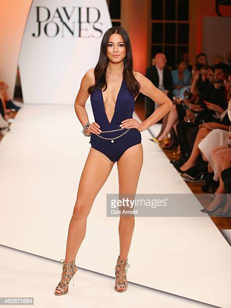 Jessica Gomes showcases designs by Isola at the David Jones Spring/Summer 2014 Collection Launch at David Jones Elizabeth Street Store on July 30...