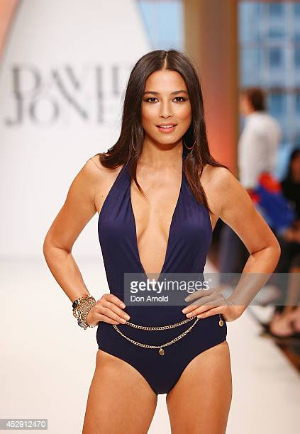 Jessica Gomes showcases designs by Isola during a rehearsal ahead of the David Jones Spring/Summer 2014 Collection Launch at David Jones Elizabeth...