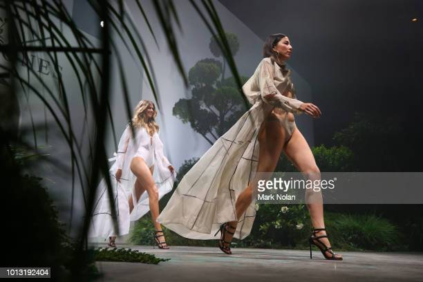 Jessica Gomes showcases designs by Jessica Gomes for Jets during the David Jones Spring Summer 18 Collections Launch at Fox Studios on August 8 2018...