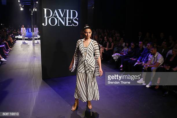 Jessica Gomes showcases designs by Kitx on the runway at the David Jones Autumn/Winter 2016 Fashion Launch at David Jones Elizabeth Street Store on...