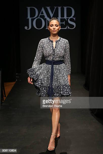 Jessica Gomes showcases designs by Maje during rehearsal ahead of the David Jones Autumn/Winter 2016 Fashion Launch at David Jones Elizabeth Street...