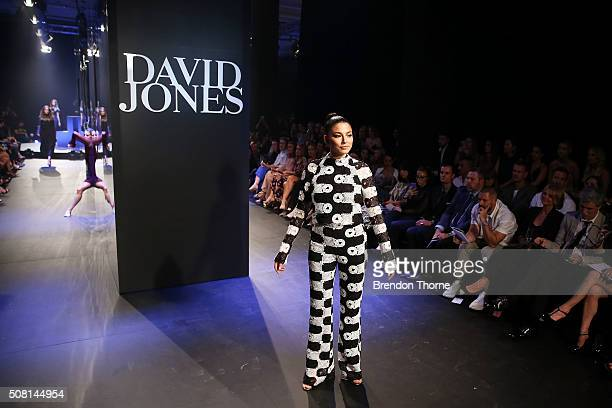 Jessica Gomes showcases designs by Manning Cartell on the runway at the David Jones Autumn/Winter 2016 Fashion Launch at David Jones Elizabeth Street...