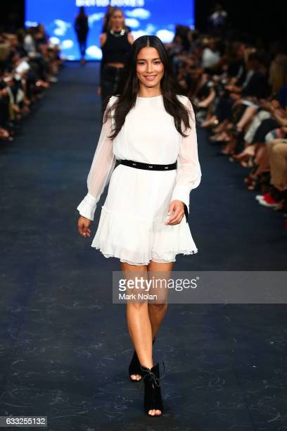 Jessica Gomes showcases designs by Manning Cartell on the runway at the David Jones Autumn Winter 2017 Collections Launch at St Mary's Cathedral...
