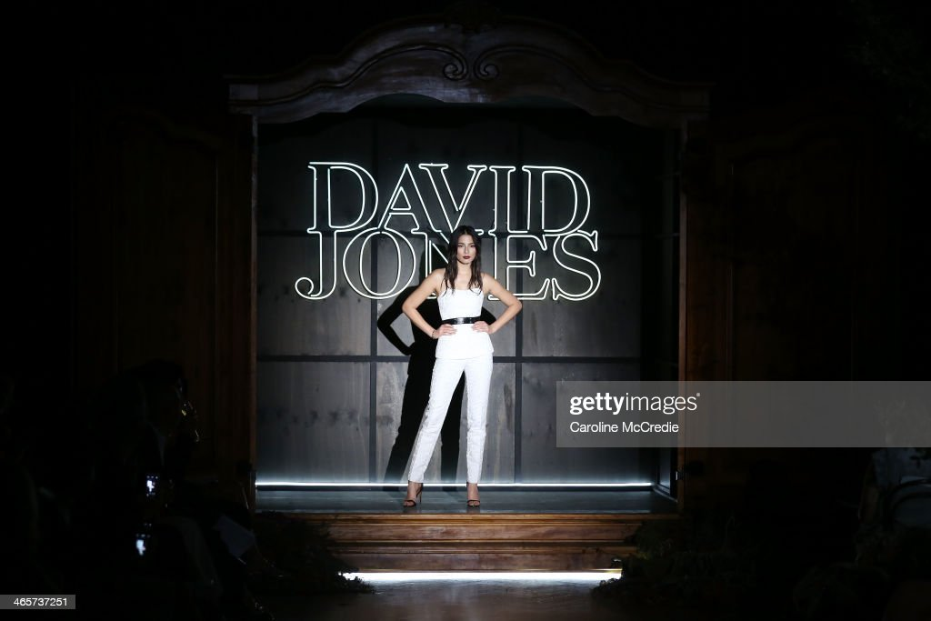 Jessica Gomes showcases designs by MJ Bale at the David Jones A/W 2014 Collection Launch at the David Jones Elizabeth Street Store on January 29, 2014 in Sydney, Australia.