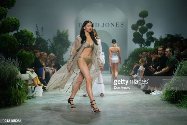 Jessica Gomes showcases designs during the David Jones Spring Summer 18 Collections Launch at Fox Studios on August 8 2018 in Sydney Australia