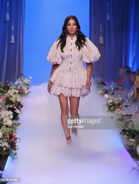Jessica Gomes showcases designs during the David Jones Spring Summer 2017 Collections Launch at David Jones Elizabeth Street Store on August 9 2017...